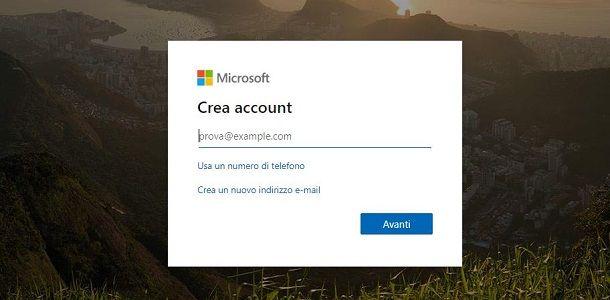 Creazione account Microsoft