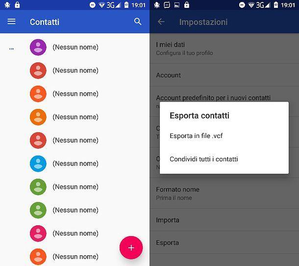 Esportazione VCF da Android