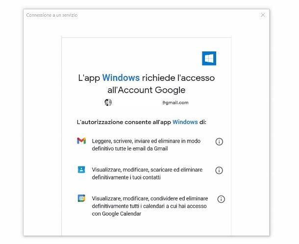 Sincronizzazione account Google Windows