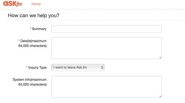 Come eliminare account Ask