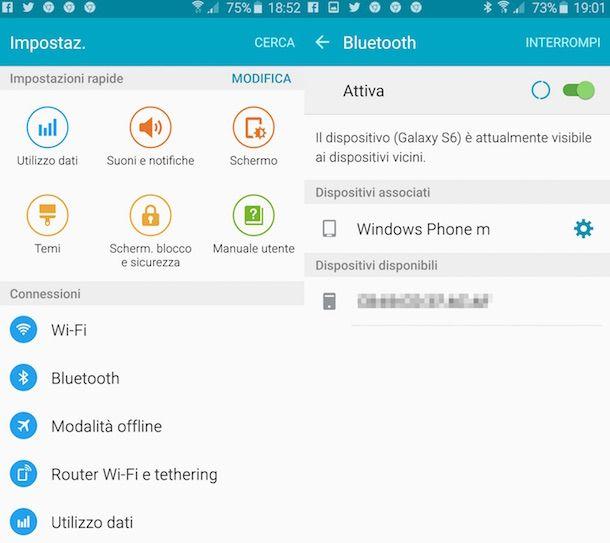 Screenshot che mostra la funzione Bluetooth su Android