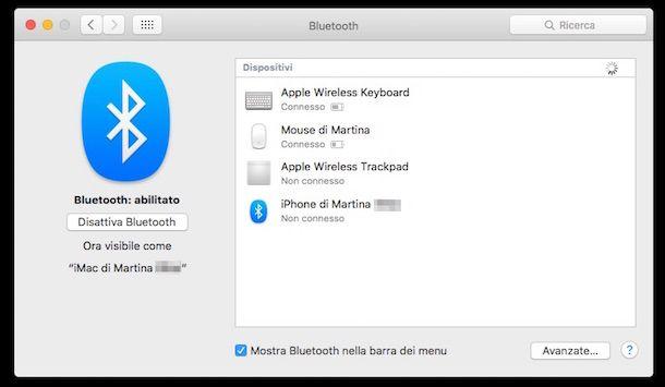 Screenshot che mostra la funzione Bluetooth su Mac