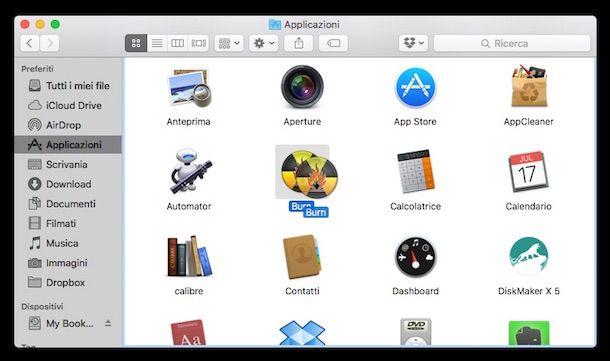 Screenshot di Burn su Mac