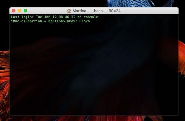 Screenshot che mostra come creare una cartella su OS X