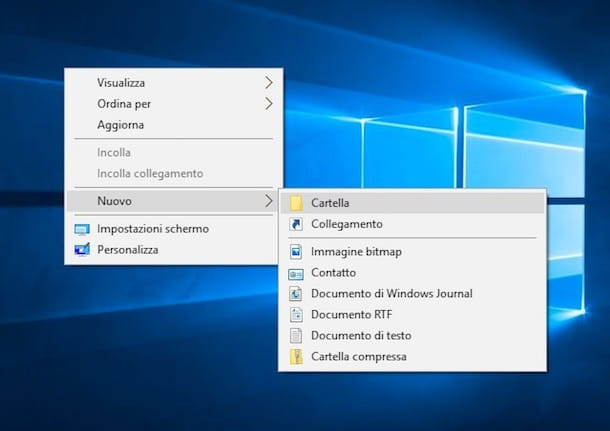 Screenshot che mostra come creare una cartella su Windows