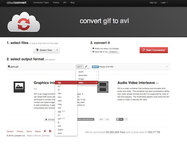 Screenshot di CloudConvert