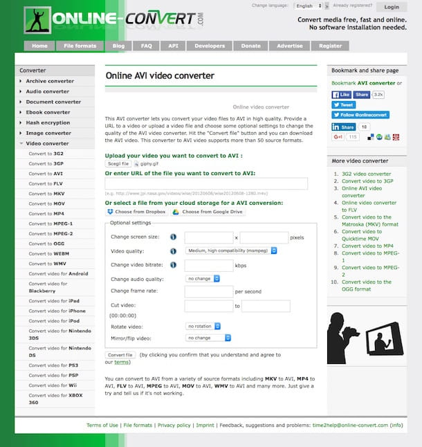 Screenshot di Online Convert
