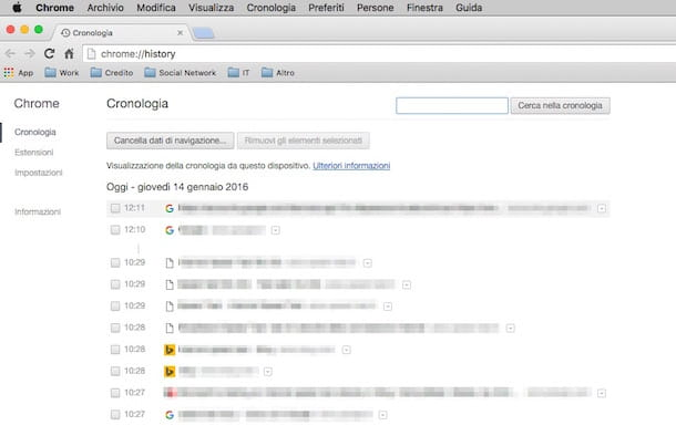 Screenshot della cronologia su Google Chrome