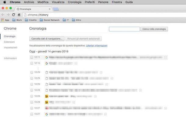 Screenshot della cronologia su Google Chrome