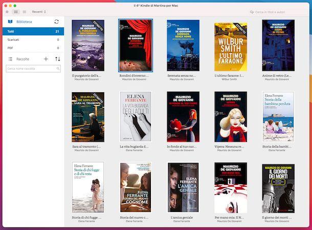 Applicazione Kindle macOS