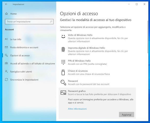 Opzioni di accesso Windows 10