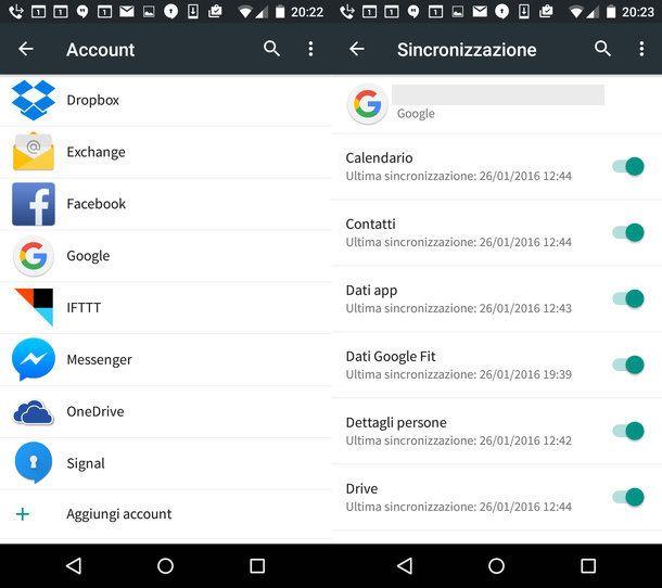 Come trasferire rubrica Android