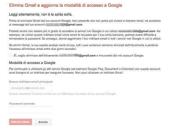 Screenshot che mostra come disattivare account Gmail