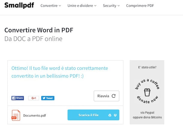 Screenshot che mostra come convertire DOCX in PDF