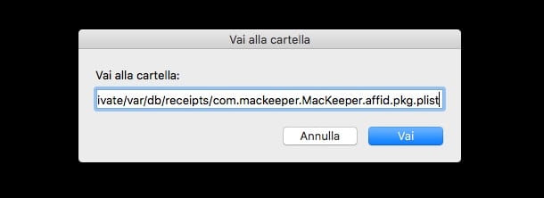 Screenshot che mostra come eliminare MacKeeper
