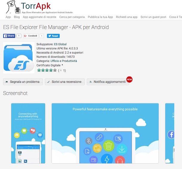Screenshot dell'app ES Gestore File