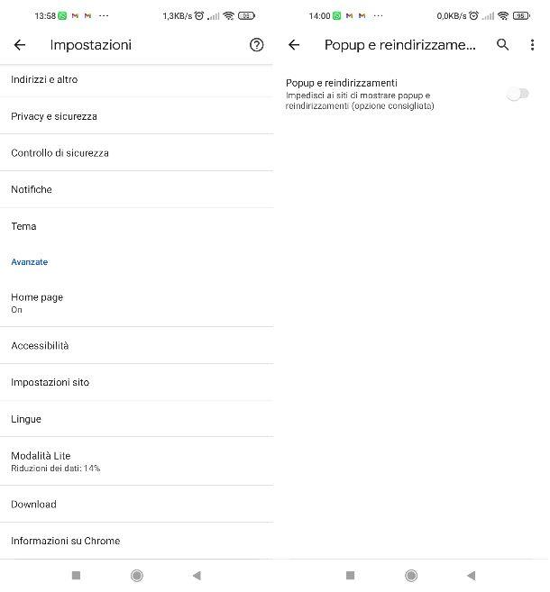 Blocco popup Chrome mobile