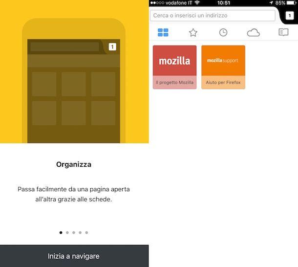 Screenshot di Firefox su iOS