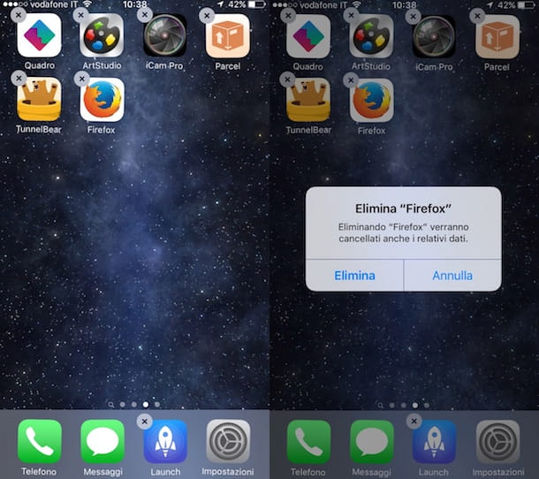 Screenshot che mostra come disinstallare Firefox su iPhone