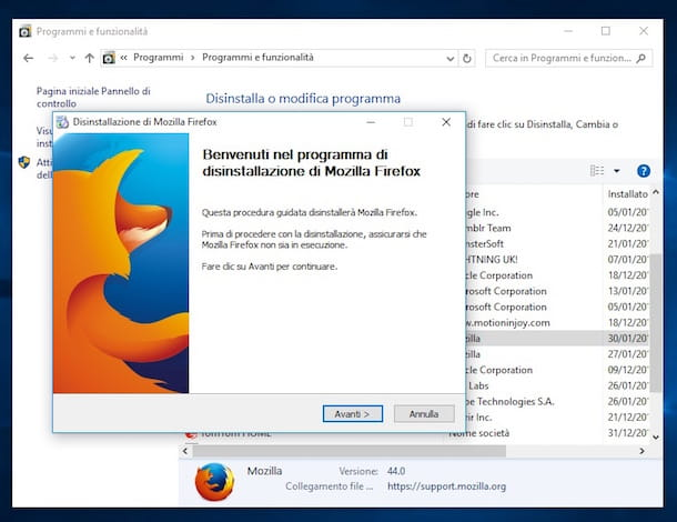 Screenshot che mostra come disinstallare Firefox su Windows