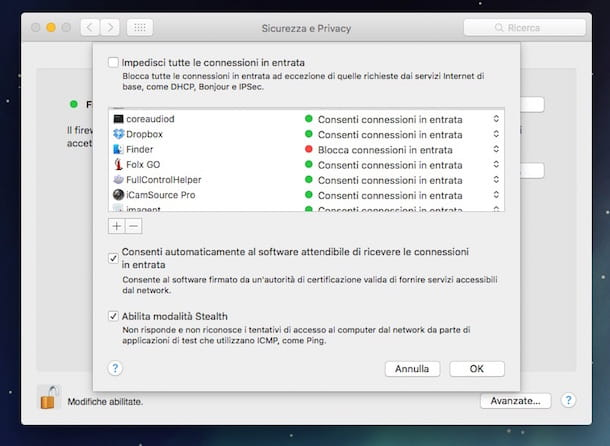 Screenshot del firewall su Mac
