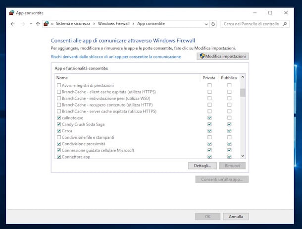 Screenshot del firewall su Windows