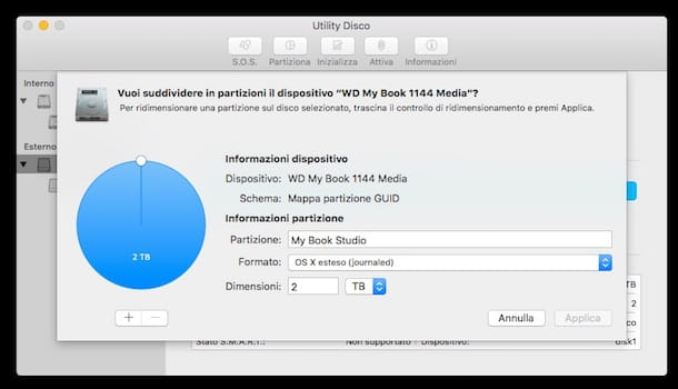 Screenshot di Utility Disco su Mac