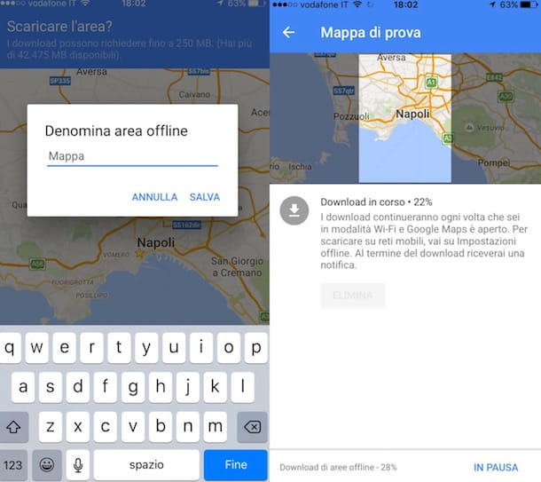 Screenshot di Google Maps su iPhone