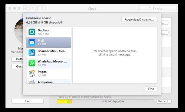 Screenshot di iCloud su Mac
