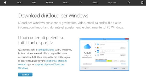 Screenshot di iCloud su Windows