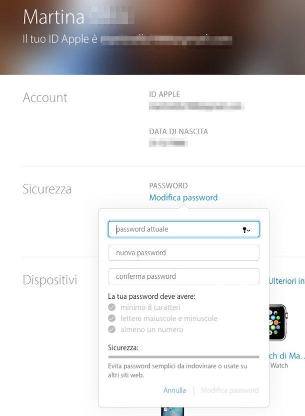 Screenshot del sito Internet Gestisci il tuo ID Apple