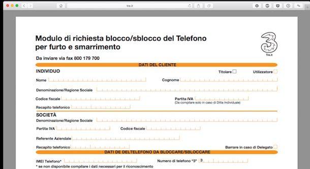 Screenshot del modulo 3 Italia per bloccare smartphone tramite IMEI