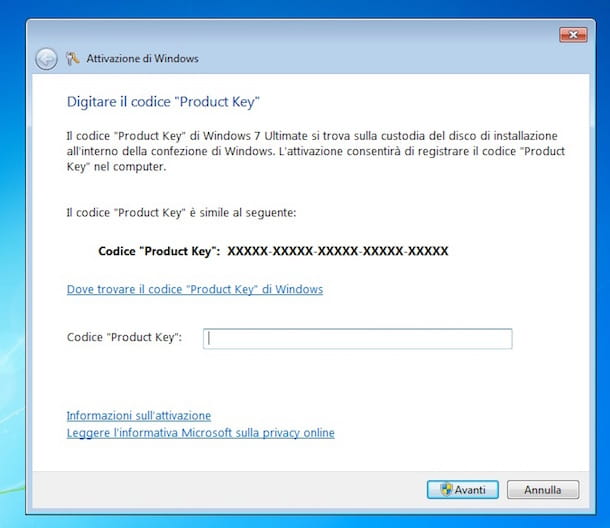 Screenshot che mostra come cambiare product key Windows 7