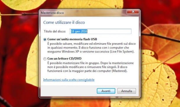 Come masterizzare con Windows 7