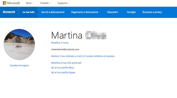 Screenshot che mostra come modificare account Microsoft