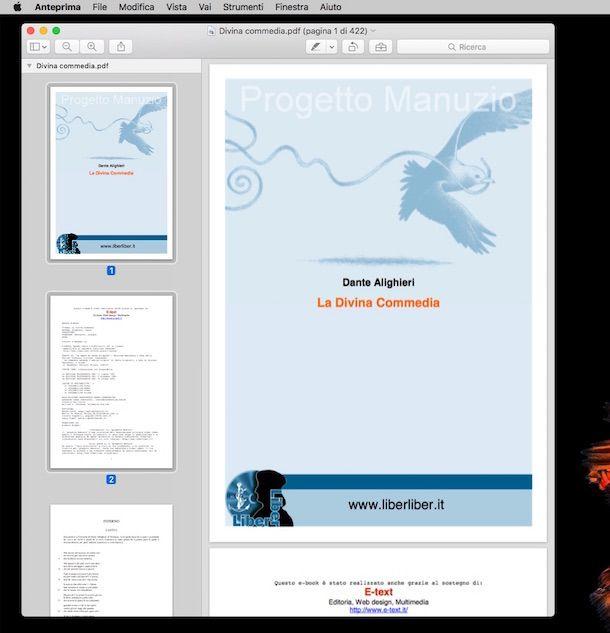 Screenshot di Anteprima su mac