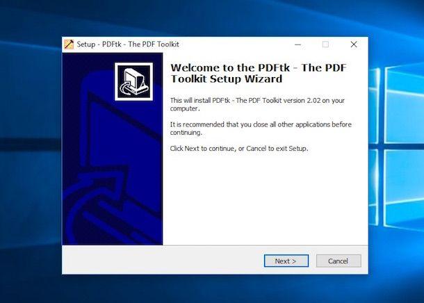 Screensht di PDFtk Free su Windows
