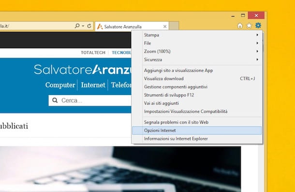 Screenshot che mostra come eliminare i popup