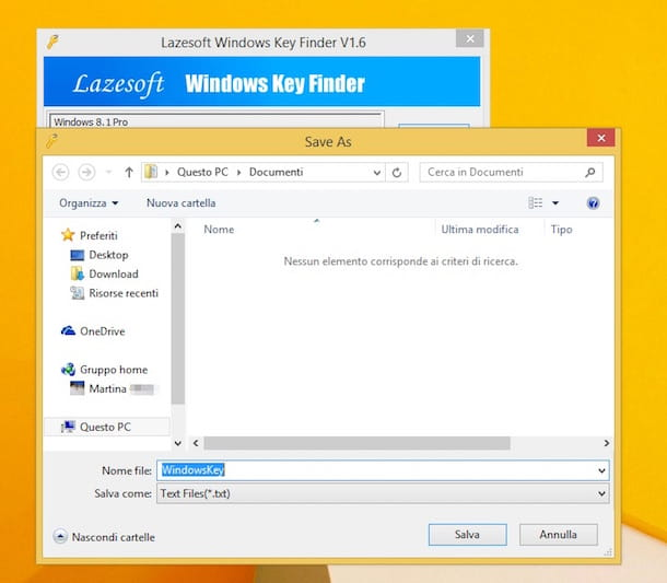 Screenshot che mostra come trovare Product Key Windows 8.1