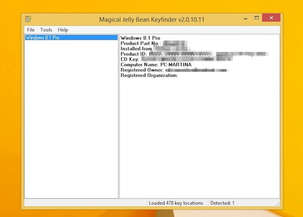 Screenshot che mostra come trovare Product Key Windows 8.1