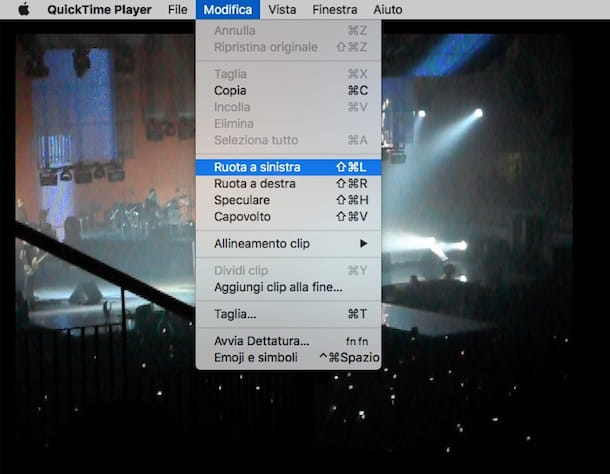 Screenshot di QuickTime Player su Mac