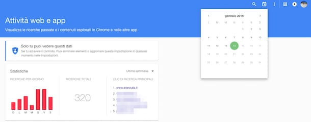 Screenshot che mostra come cancellare ricerche Google