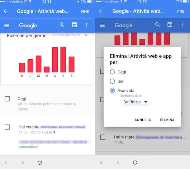 Screenshot che mostra come cancellare ricerche Google da iPhone
