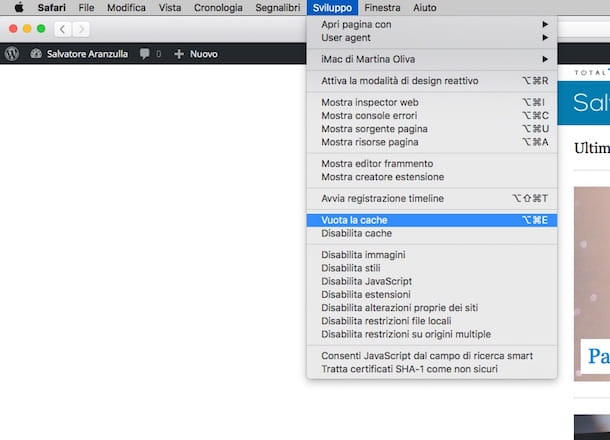 Screenshot che mostra come svuotare la cache di Safari su Mac