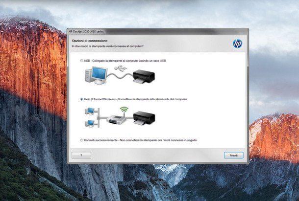 Screenshot stampante WiFi su Windows