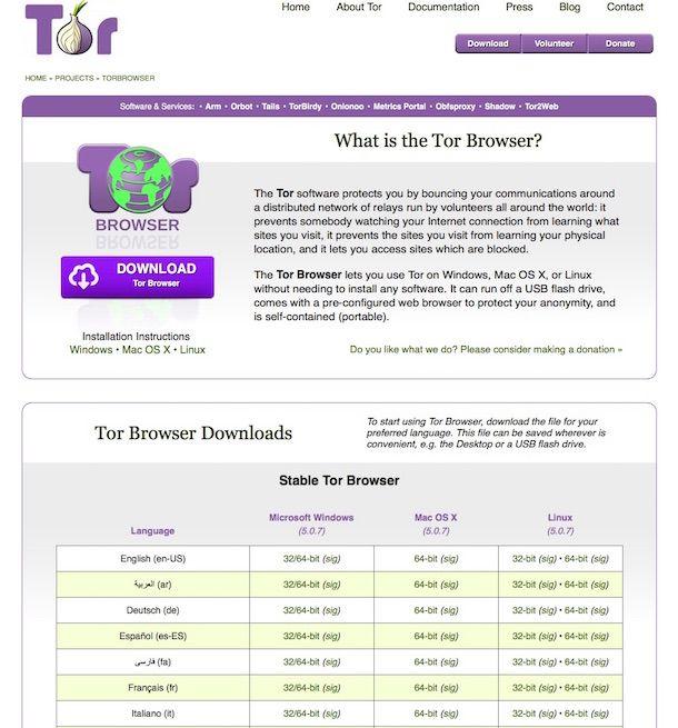 Screenshot di Tor Browser