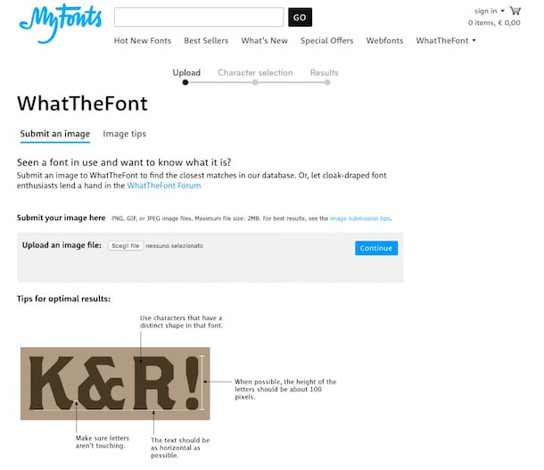 Screenshot di WhatTheFont