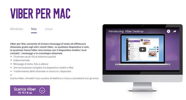 Screenshot di Viber su Mac