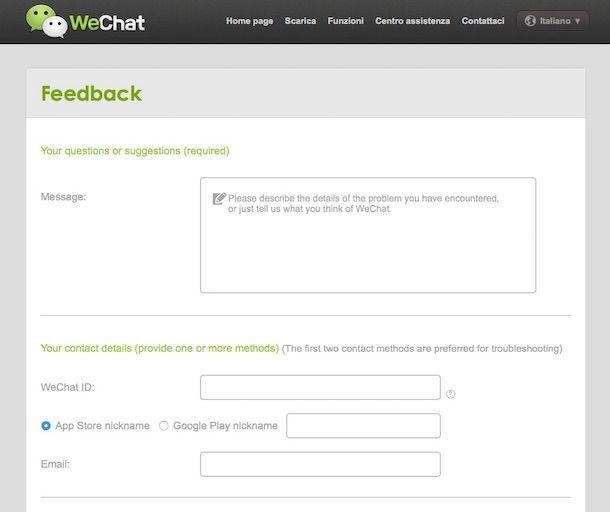 Screenshot che mostra come cancellare account WeChat