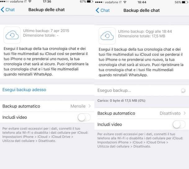 Screenshot che mostra come recuperare chat WhatsApp su iPhone